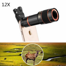 12X Zoom Cell Phone Camera Telephoto Lens Black for iPhone X 8P 7 Samsung Galaxy