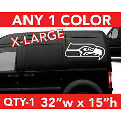 SEATTLE SEAHAWKS ''HEAD'' ONLY WALL AUTO DECAL STICKER 32''w x 15''h ANY 1 COLOR