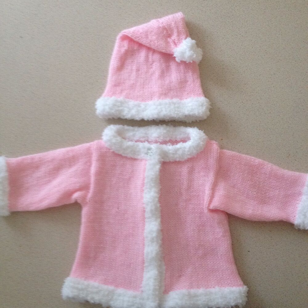 47114e51b Baby Girls Hand Knitted Christmas Santa Jacket And Hat Set In Pink 3-6  Months