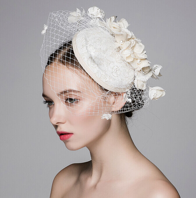 dca9572ce56d3 Details about New Ivory Flower Tulle Lace Handmade Formal Evening Wedding  Bridal Women Hats