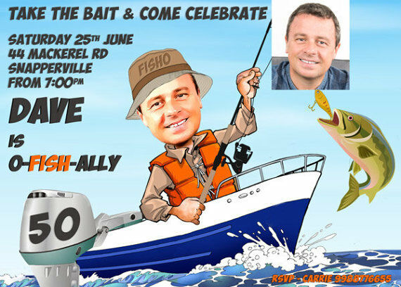 Details About Man S Fishing Birthday Party Invitation Any Age 30th 40th 50th 60th Etc