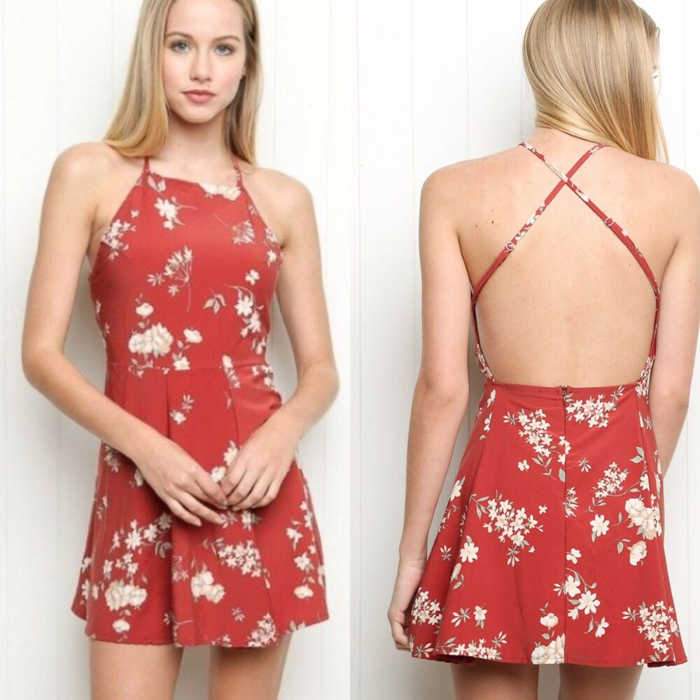 2d72eafcec707 Details about Rare! brandy melville Red Criss Cross low back Fitted Flare  Kristen Dress Nwt