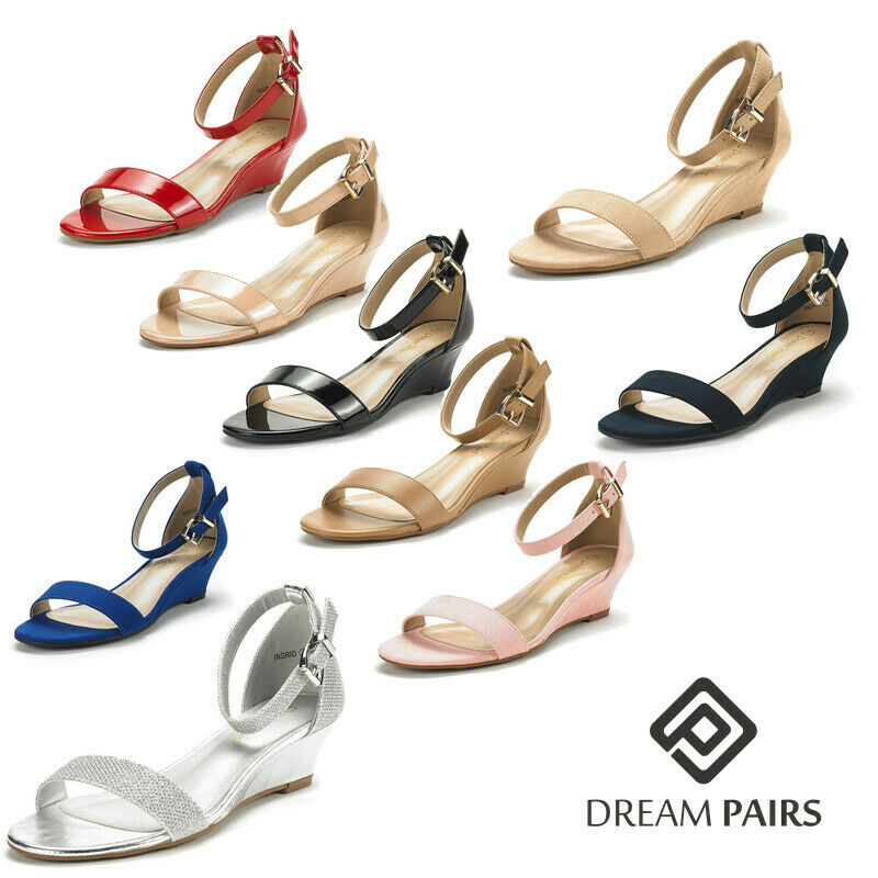 cb69e5c1666b2 Details about DREAM PAIRS Women s Ingrid Ankle Strap Low Wedge Sandals