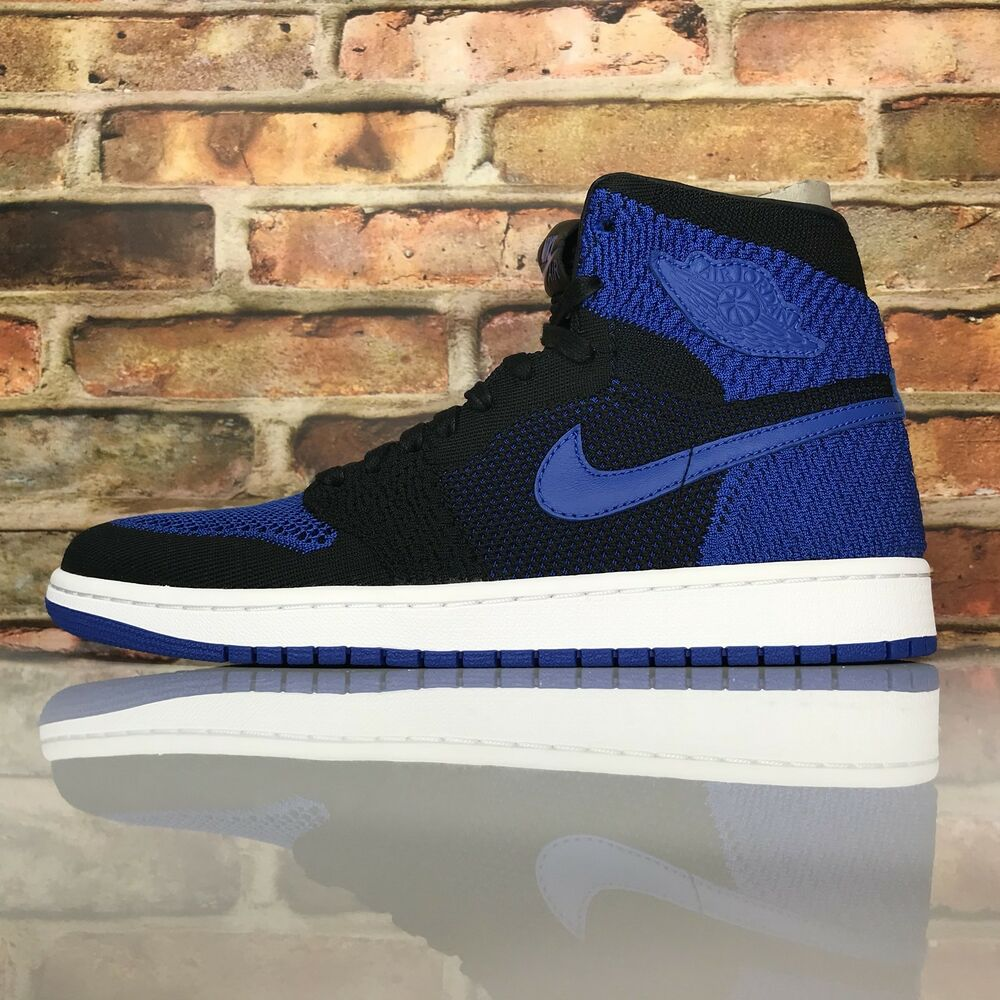 54954d962fea8 Air Jordan 1 Retro High Flyknit Mens 12 Black Game Royal White 919704-006