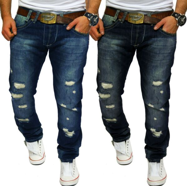 Lorenzo Loren Herren Jeans Hose Denim Used Look Waschung Destroyed Blau