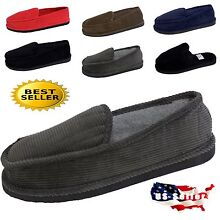 MEN'S SLIPPERS HOUSE SHOES MOCCASIN CORDUROY SLIP ON & OPEN BACK SIZE 4~13