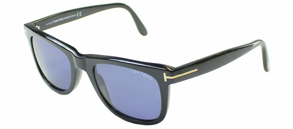 045a6596516 Details about Authentic Tom Ford Leo FT0336 TF 336 01V Black Rectangle  Sunglasses Blue Lens