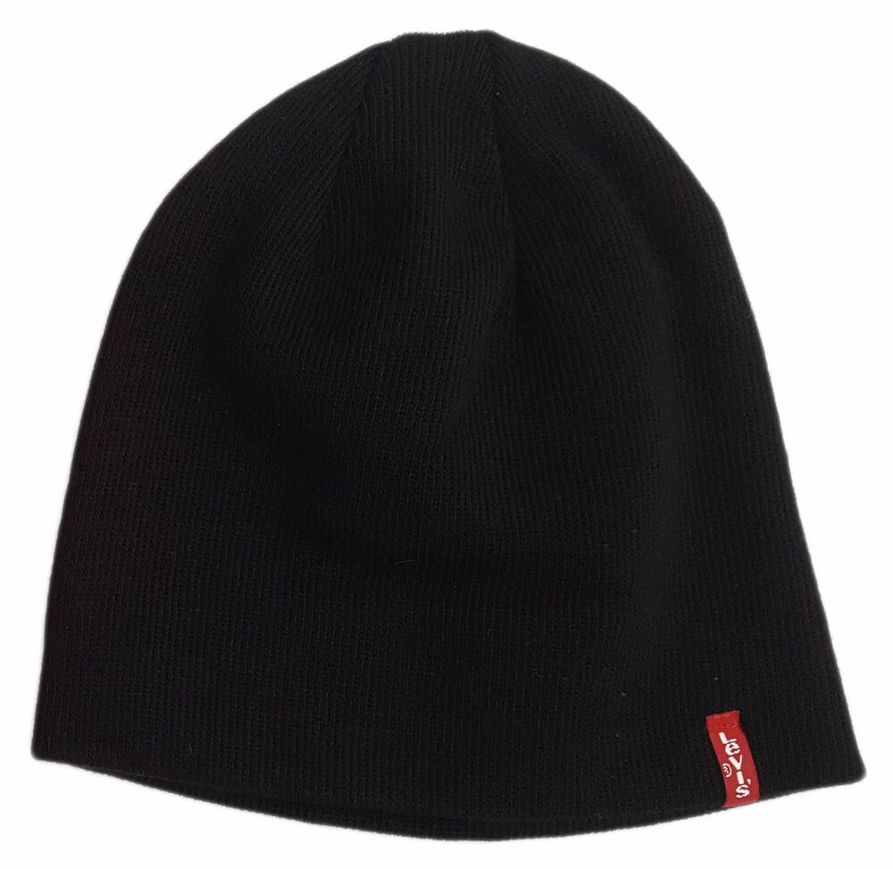 5818dd9574c Details about MENS LEVIS CLASSIC RED TAB PULL ON BEANIE   WOOLY HAT OTIS -  BLACK
