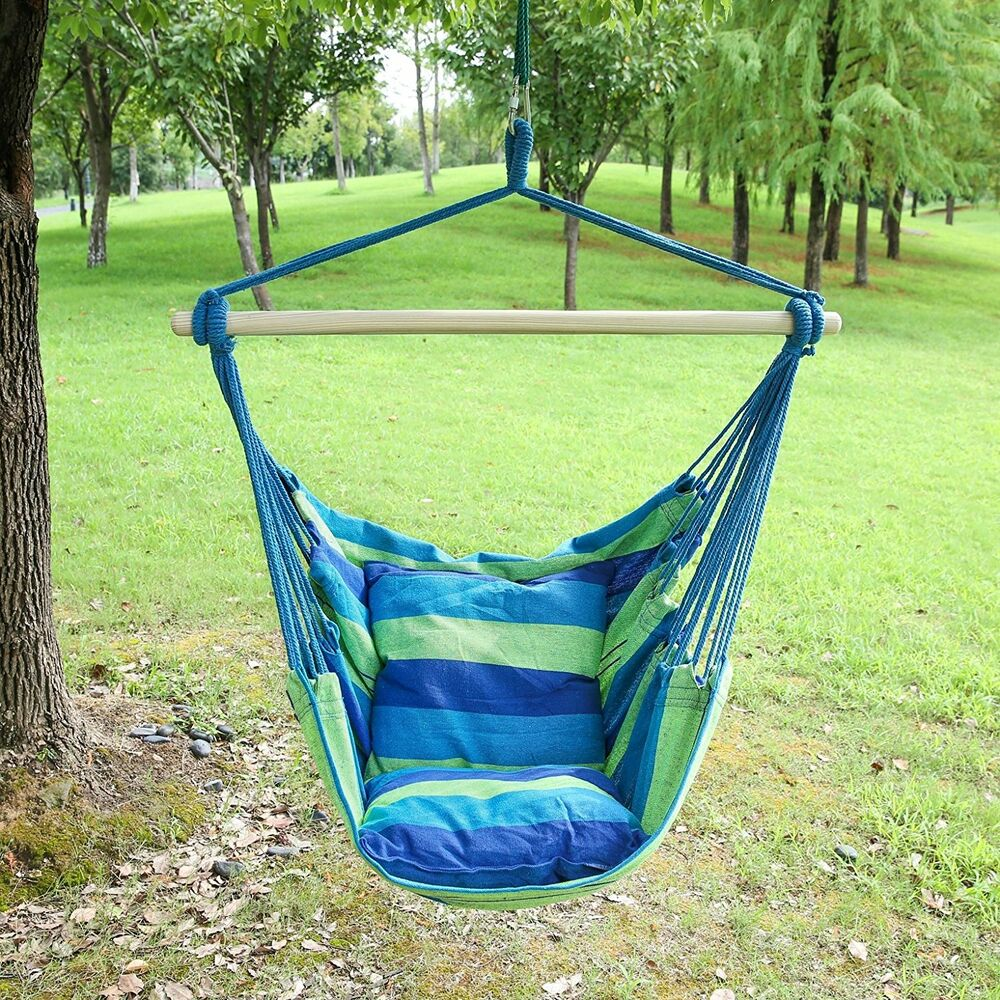 Hanging Hammock Chair Swing Rope Chair Porch Swing Seat ...