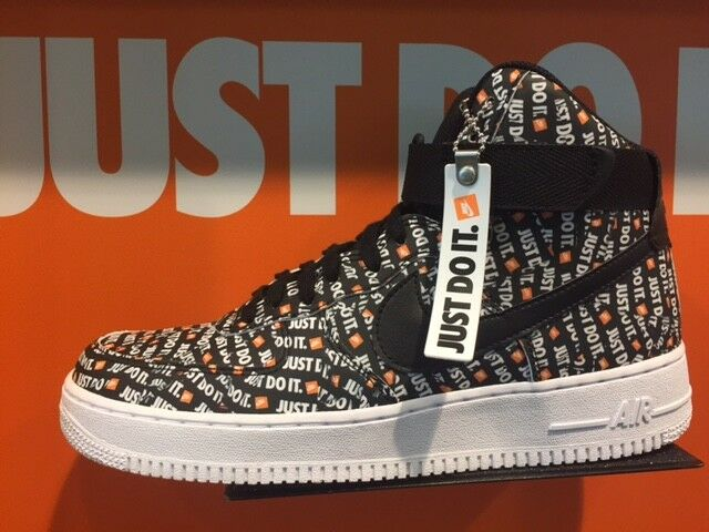 competitive price 94aac 9f4fd Nike Air Force 1 One High Just Do It Logo JDI Black White Orange AF1 Sz  8-13 New | eBay