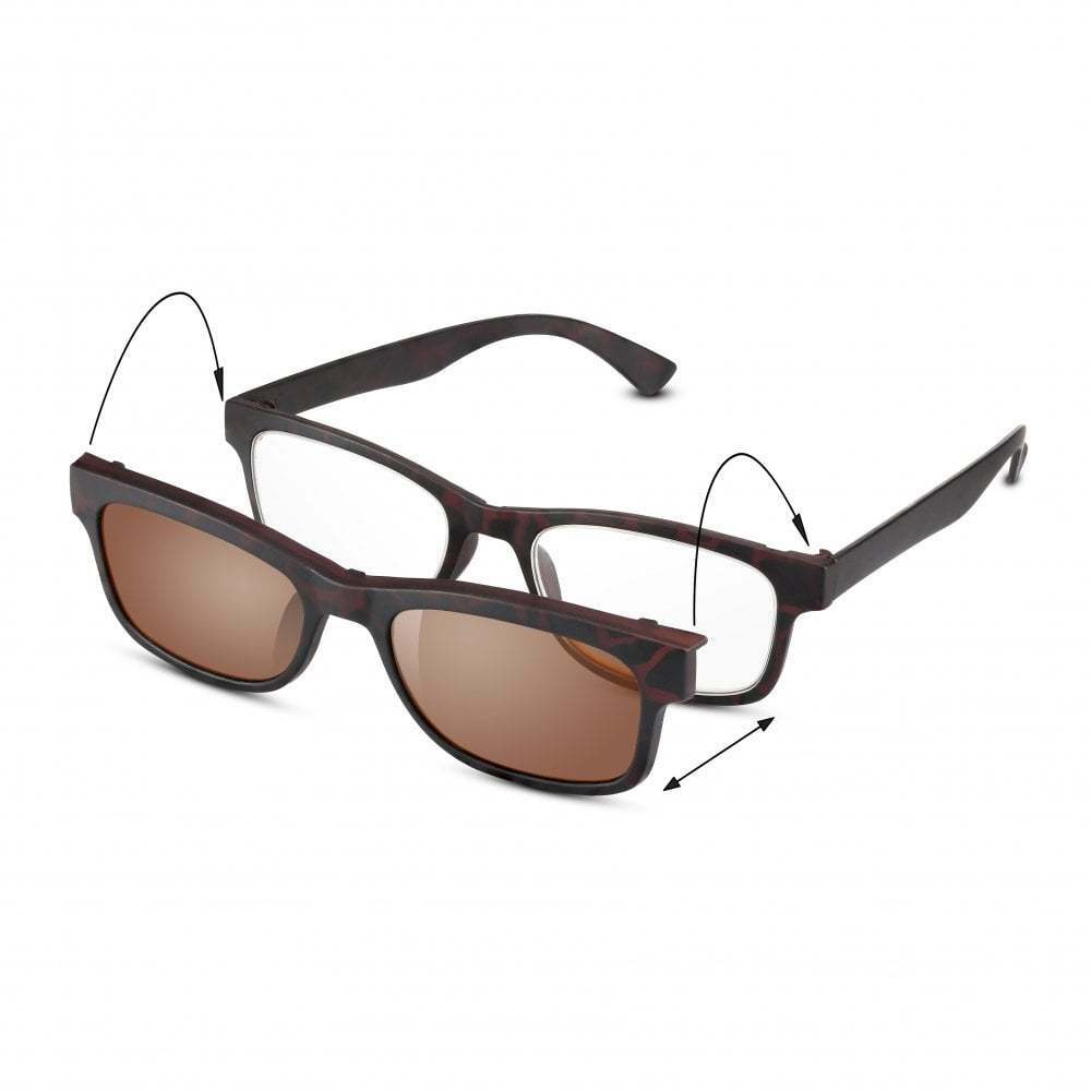 8ac39ee267 Details about Patented 2-in-1 Reading Glasses  UV400 Clip-On Sun Readers  for Men and Women
