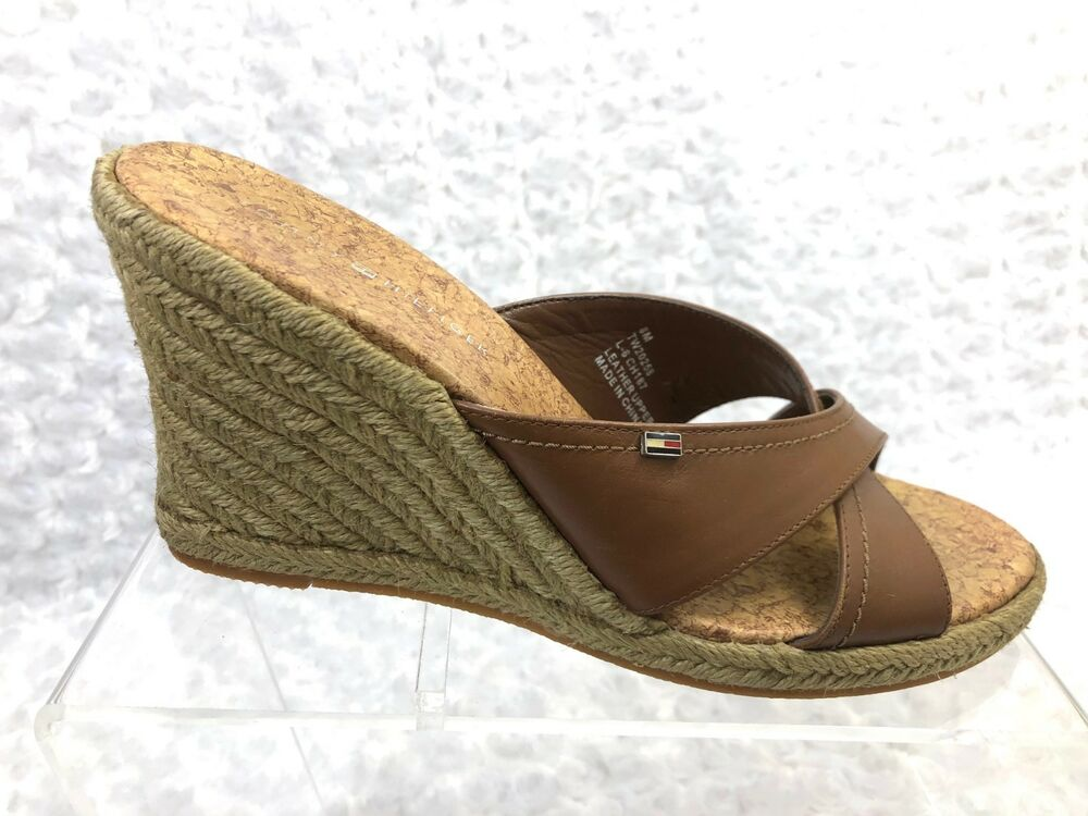 468a586f776f Details about Women s Tommy Hilfiger Tan Leather Wedge Open Toe Strap Mule  - Size 8M