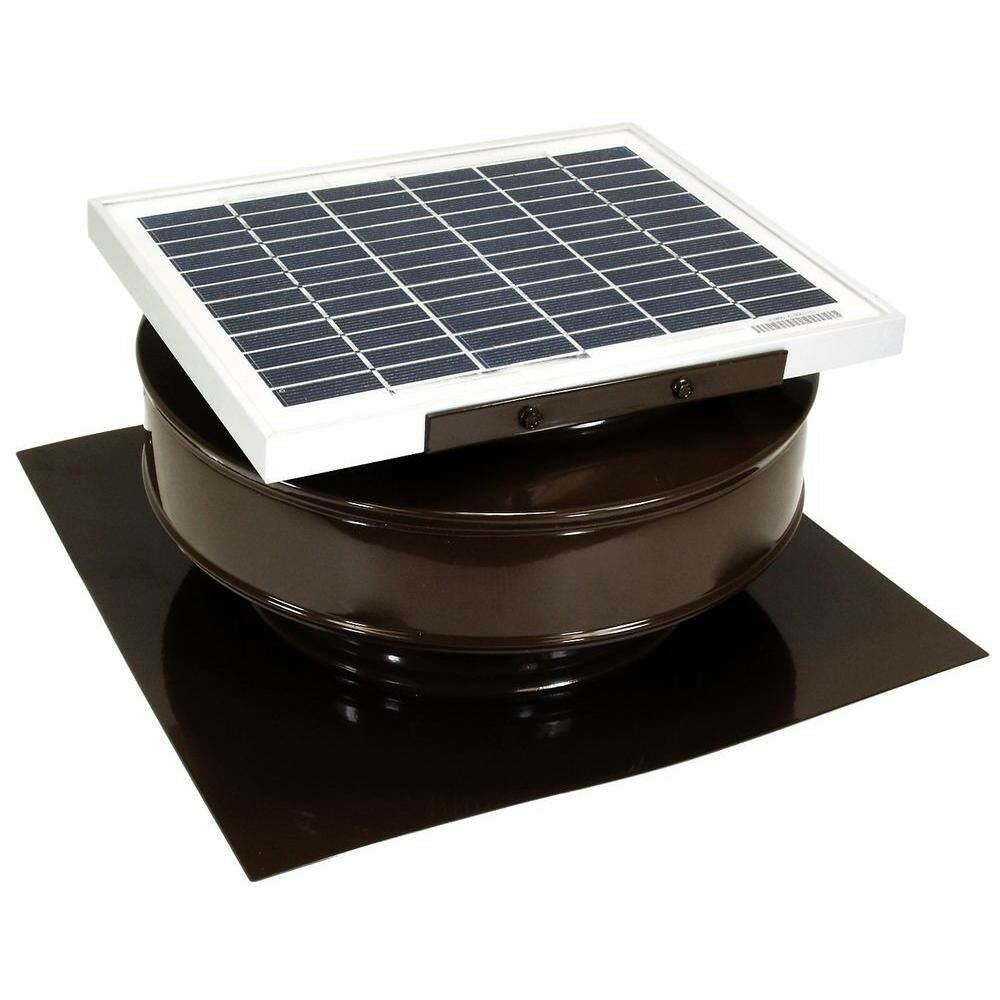 Solar Powered Roof Mounted Exhaust Attic Fan 365 Cfm Brown