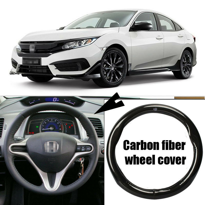 Details About For Honda Civic Car Carbon Fiber Leather Steering Wheel Cover Sport Racing