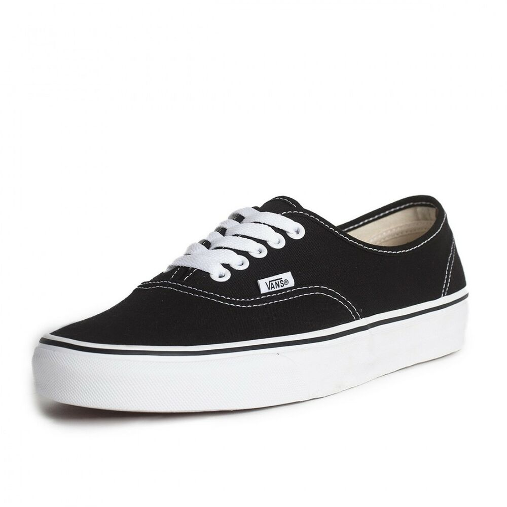 Details about New Men Vans Authentic Black Skateboarding Shoes Classic  Canvas US size 4 64d08b86d
