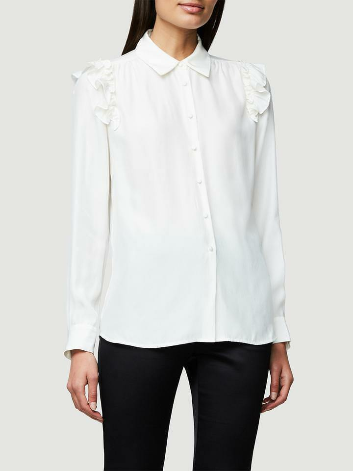 8ddd04d4203f9 Details about New Frame Off White Ruffle-Shoulder Long Sleeve Silk Blouse  Top Size XL