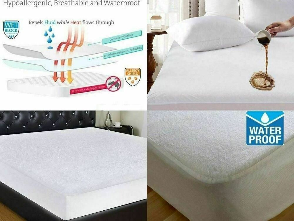 Details about TERRY TOWELLING WATERPROOF MATTRESS PROTECTOR NON NOISY  (CRINKLE FREE). 60ce2420e