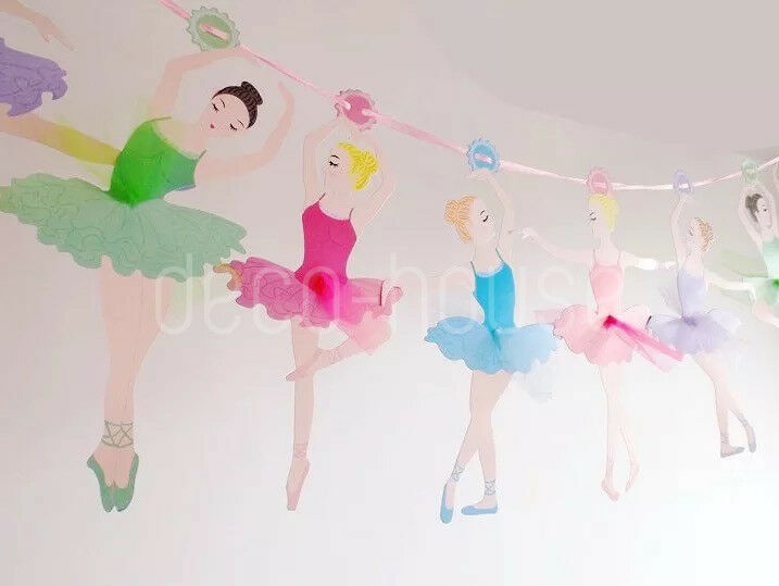 c12ae923cda0 Ballet Ballerina Dancers Tutu Garland Party Baby Birthday Nursery ...
