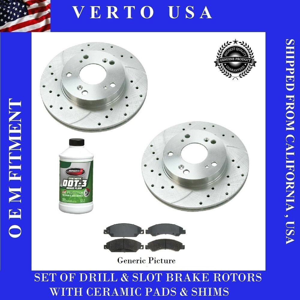 Rear Drill Slot Brake Rotors /& Ceramic Pads For  Toyota Camry 2007-2011 Kit