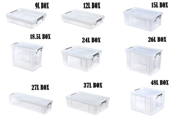 Plastic Storage Boxes With Silver Clamp Underbed Box Chest Container Stack-Able
