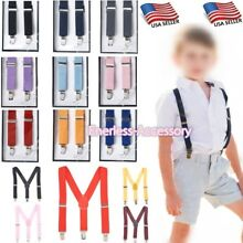 Boys Girls Kids Child Baby Children Toddler Clip on Elastic Suspenders US SELLER