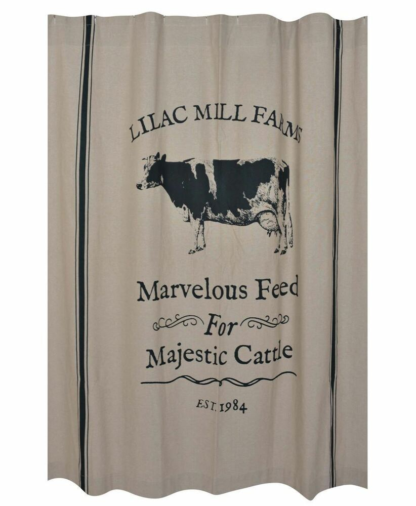 Majestic cattle shower curtain farmhouse sawyer mill cottage country cow bath ebay