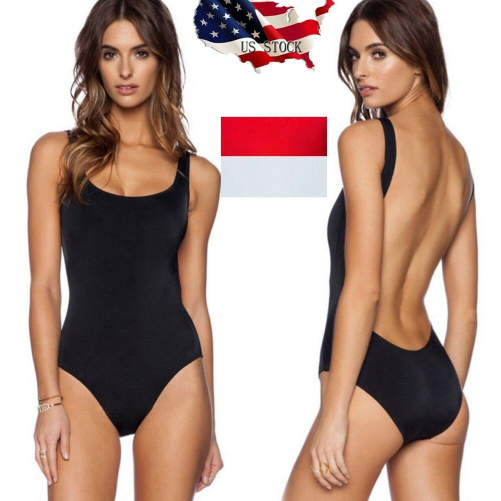 8378df5958 Details about US Women Retro 80/90s Inspired High Cut Low Back One Piece  Swimwear Bathing Suit