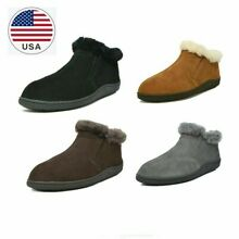 DREAM PAIRS New Men's Suede Leather Sheepskin Fur Lining Slipper Loafers Boots