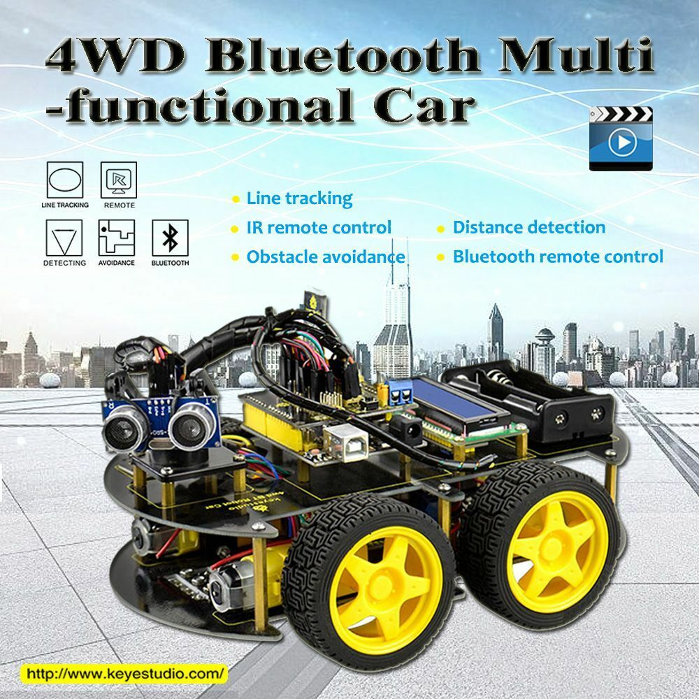 4wd Bluetooth Multi-functional Diy Smart Car For Arduino Robot Education Uno R3 Starter Kit Active Components