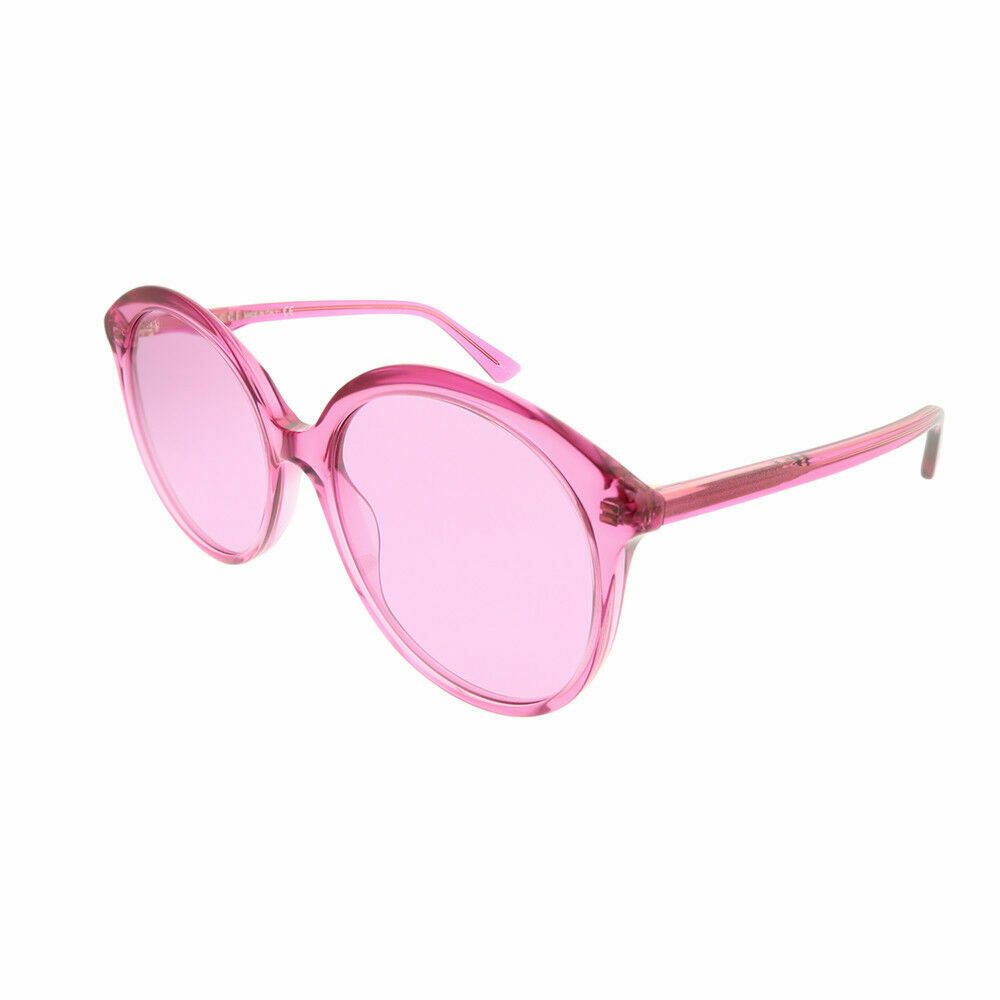bbb3f36c98c Details about Gucci GG0257S 005 Fuchsia Plastic Round Sunglasses Pink Lens