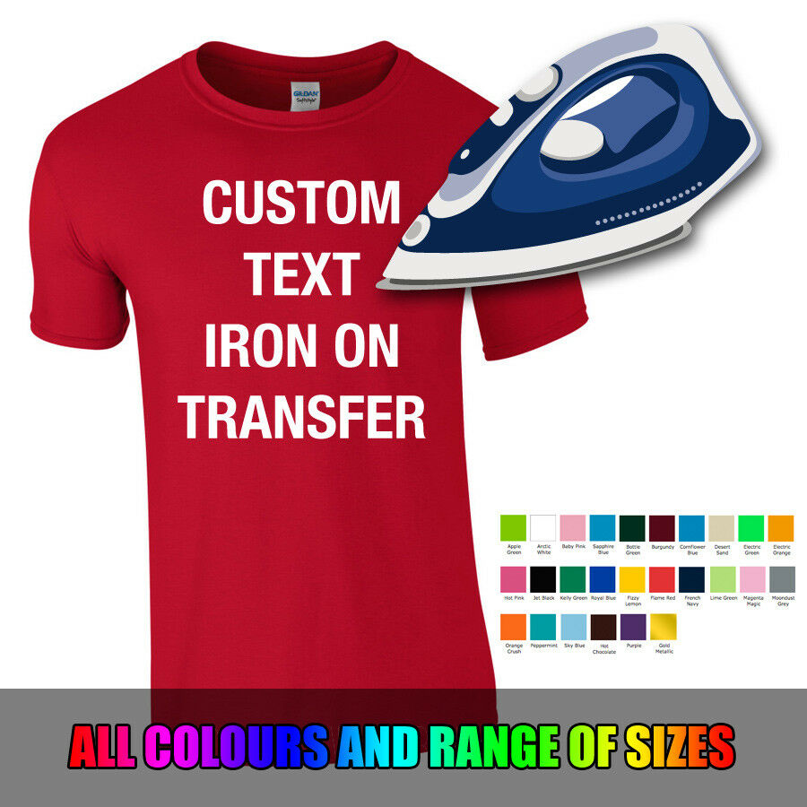 db8e4a9a0 Details about CUSTOM IRON ON TRANSFER Personalised Tshirt Hoodie Sweater  Text Name Number