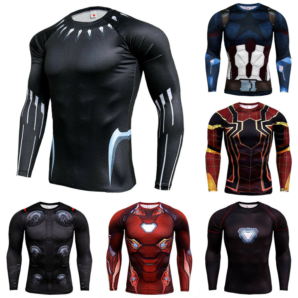 ec962a98 Details about Men Marvel Superhero Compression Workout Long Sleeves T-shirt  Cycling Gym Sports