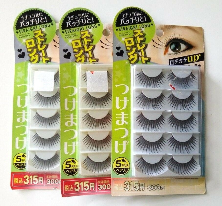 b8684cfb711 Details about lot of 15 pairs straight extra long fake eyelashes black