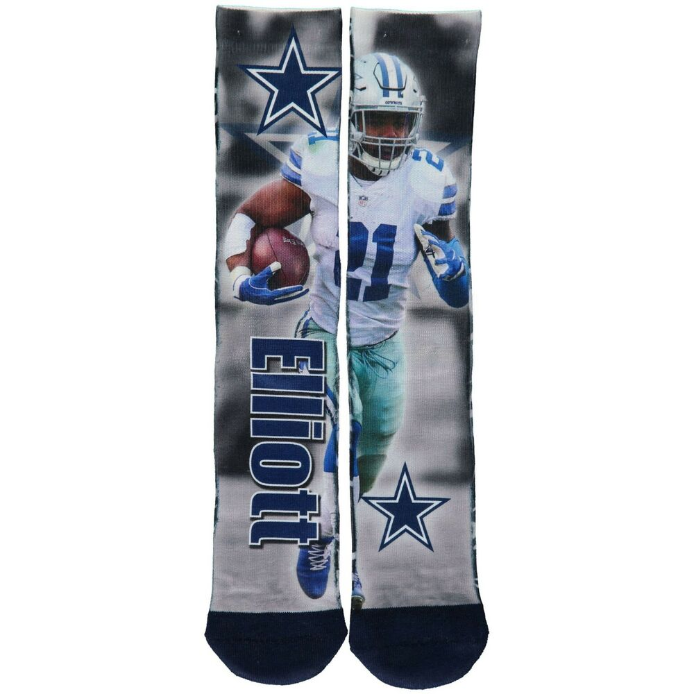 8b6d3a5c2 Details about Ezekiel Elliott Dallas Cowboys For Bare Feet Player MONTAGE  Crew Socks- Large