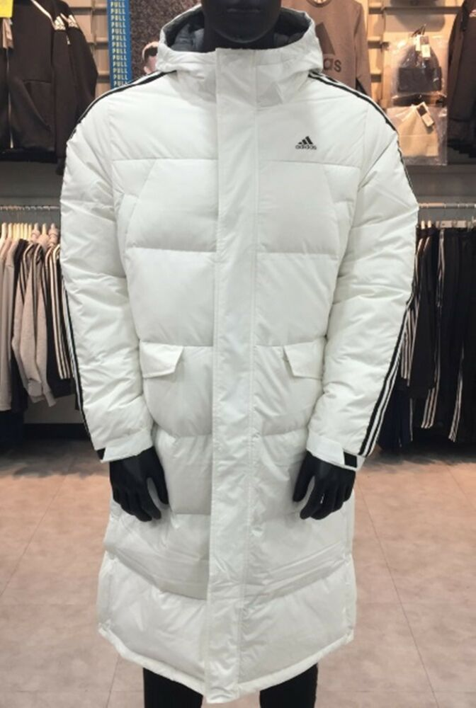 a2b4ed81352e6 Details about Adidas Men 3STR Long Down Coat Padded Jacket White Warmer Top  Parka Coat DT7921