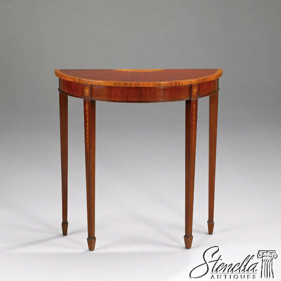 Details About L40301: Federal Hepplewhite Inlaid Mahogany 1/2 Round Console Hall  Table ~ New