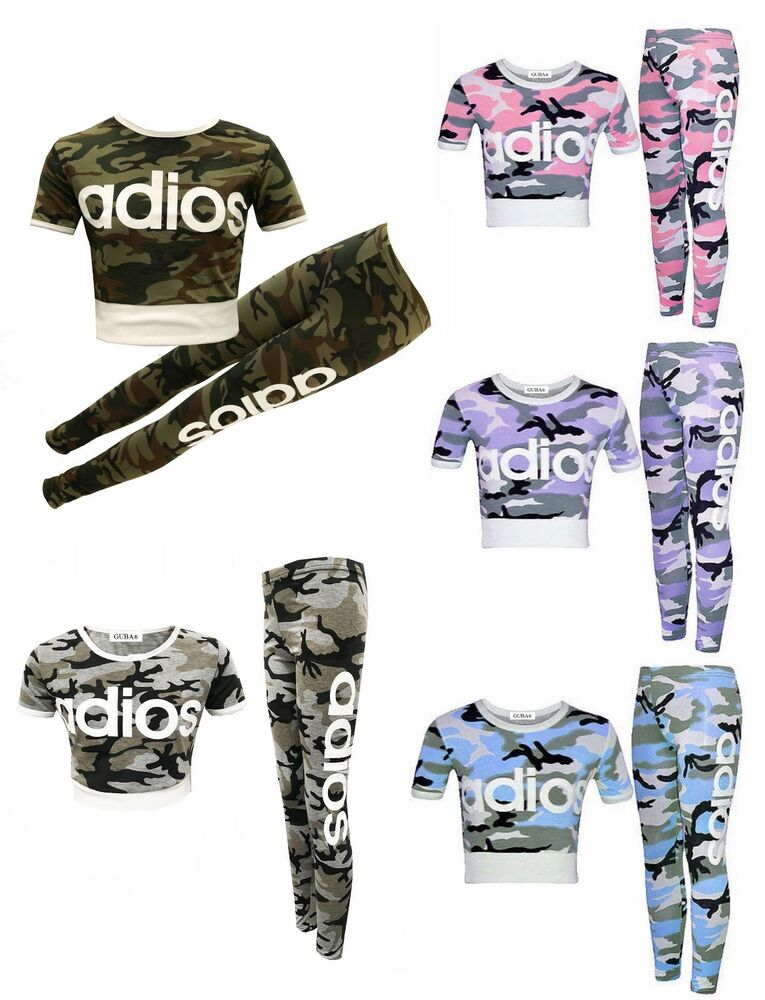 b4ea5a60268d3f Details about GIRLS KIDS ADIOS PINK CAMOUFLAGE TRACKSUIT CHILDREN CROP TOP LEGGINGS  AGE 7-13