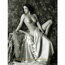 Vintage Nude Woman Partially Draped 8.5x11'' Photo Print, Naked Female on Stage