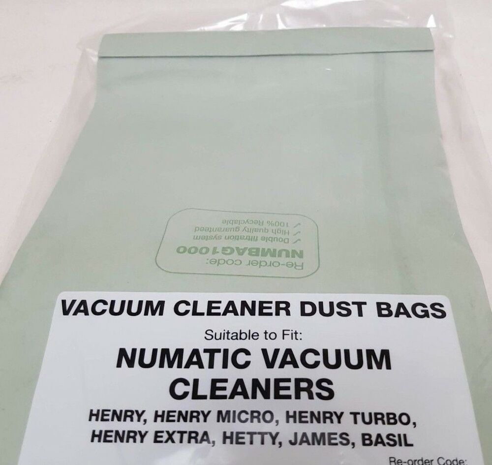 5 x Vacuum Cleaner Double Layer Dust Bags For Numatic Henry Hoover