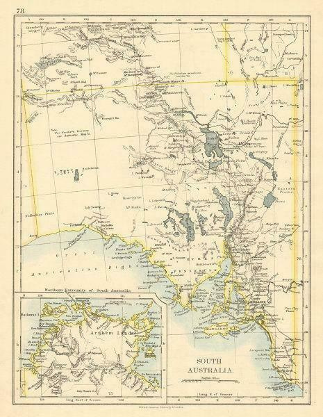 Map Of South Australia And Northern Territory.South Australia Arnhem Land Northern Territory Johnston 1892 Old