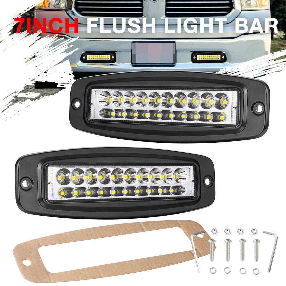 Details About 7inch Flush Mount Slim Single Row Led Work Light Bar Spot Combo Reverse Driving