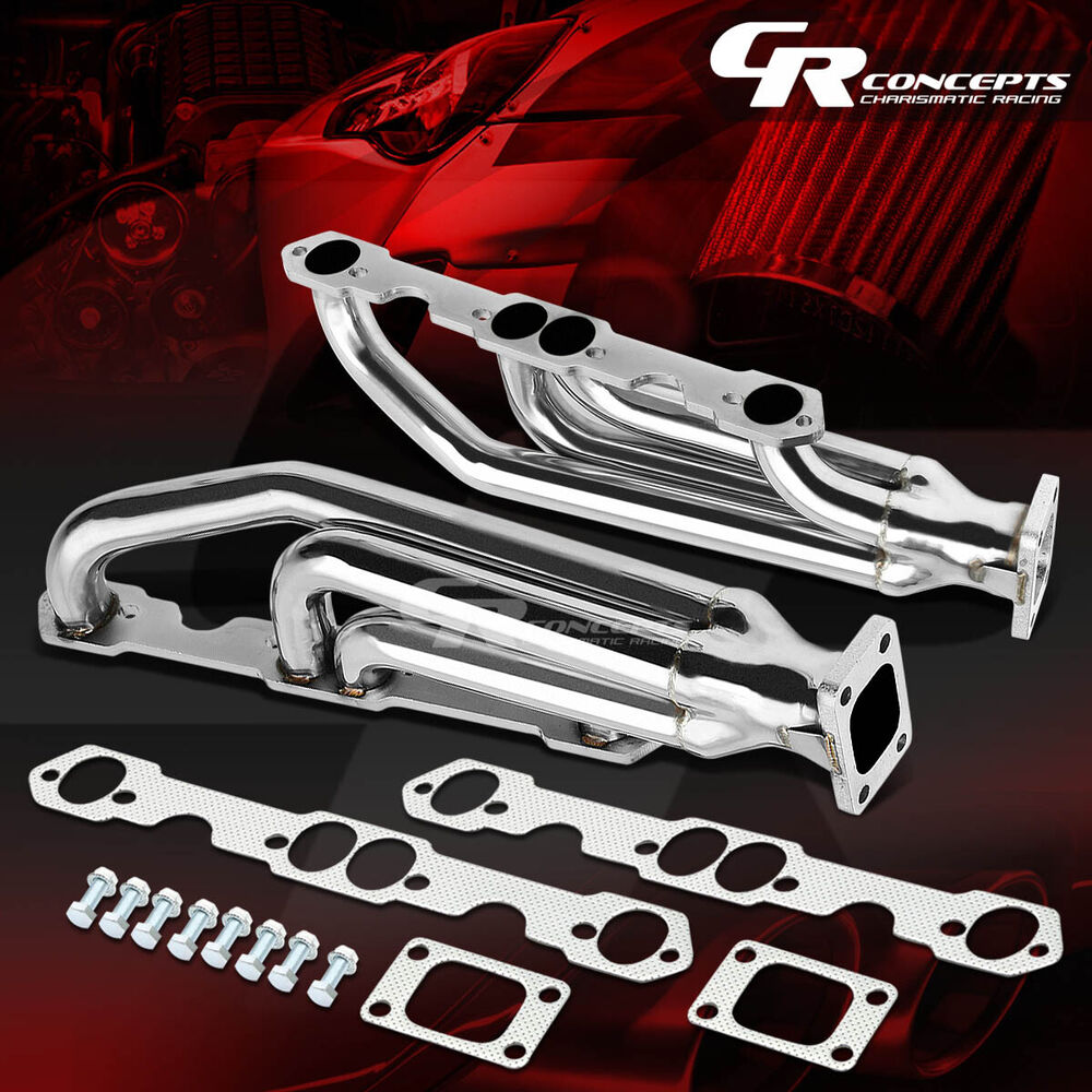 FOR CHEVY SBC 283/327/350/400 STAINLESS RACING TWIN TURBO