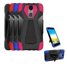 For LG Rebel 4 Shockproof Hybrid Cover Case with Kickstand