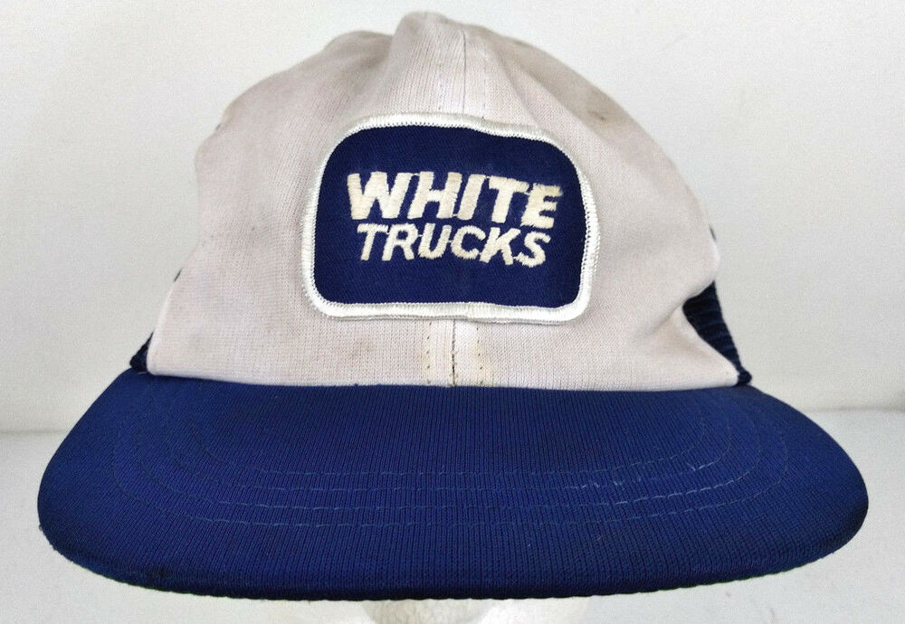 Details about Vtg White Trucks Sewn Patch Trucking Freight Blue Mesh  Trucker Hat Logo Snapback 629cd5958c23