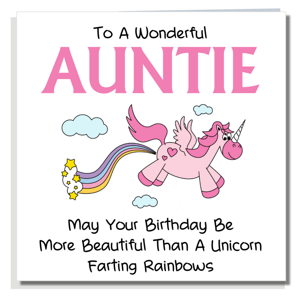 Details About BIRTHDAY CARD Funny Rude Cute Cheeky Humour Auntie Joke Unicorn For Aunt A214
