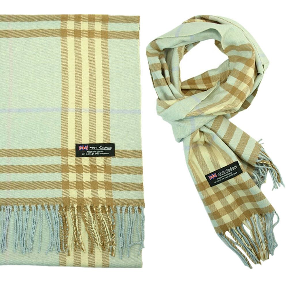 92cf7fff3 Details about Men's 100% CASHMERE Scarf Blue Big Plaid Stripe Vintage Soft  Made in Scotland