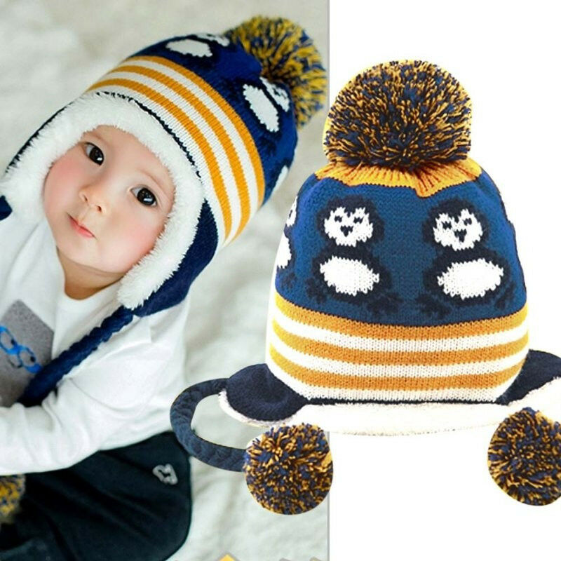 Details about Baby Hat Autumn Winter Baby Men Women Knitted Plus Velvet Hat  Cap 1-2 Years Old 2c8e7020255