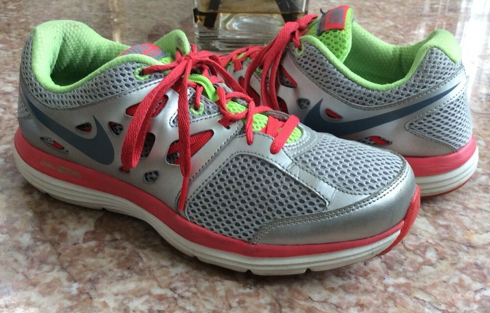 Details about Nike Dual Fusion Lite Women s Silver Red Running Shoes Size  8.5  599560-001 EUC 3c45fe4a6dde