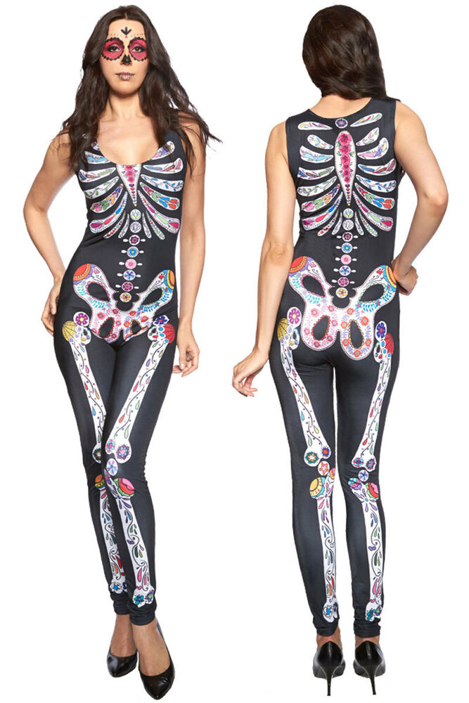 099b0f099f52 Details about Adult Halloween Cosplay Sexy Fancy Dress Skull Catsuit  Jumpsuit Costume Party