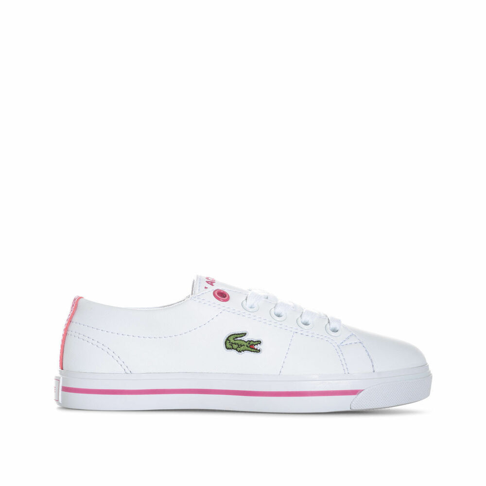 f0732ae01193 Details about Lacoste Girls Kids Junior Trainers Shoes 7-33CAC1017B53 White  Pink